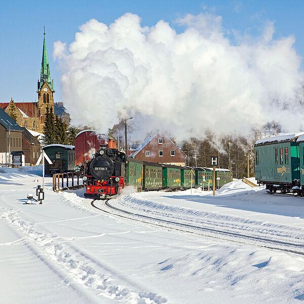 Dampfbahn im Winter